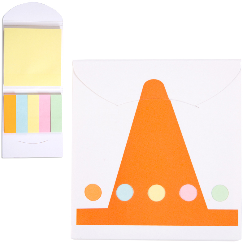 Pocket Sticky Note Memo Book - Construction Cone