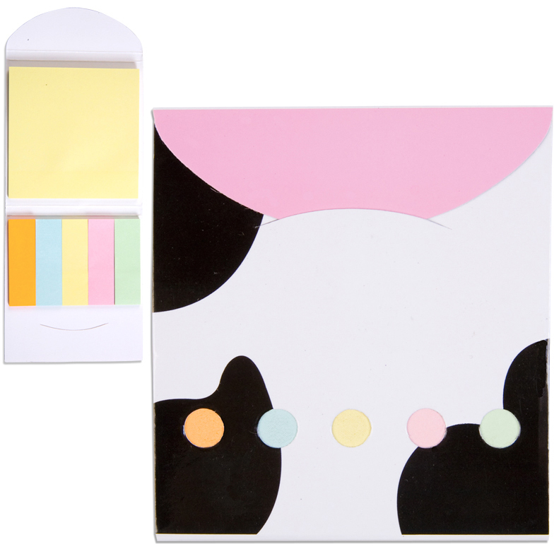 Pocket Sticky Note Memo Book - Cow