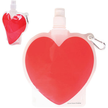 HydroPouch! 18 oz. Heart Collapsible Water Bottle - Patented