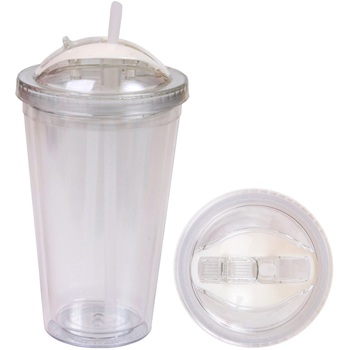 16 oz. Double Wall Acrylic Tumbler with Dome Lid & Straw