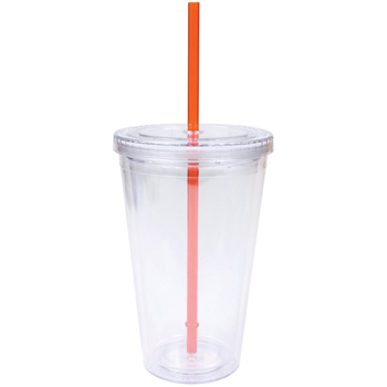 16 oz. Double Wall Cool Clear Acrylic Tumbler w/ Color Straws